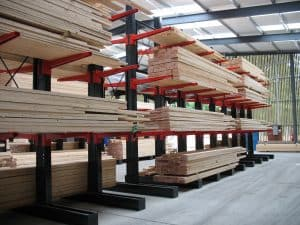 Softwood Timber and Hardwood Timber Stored on Stakapal Cantilever Racking for improved Product Storage and selectivity