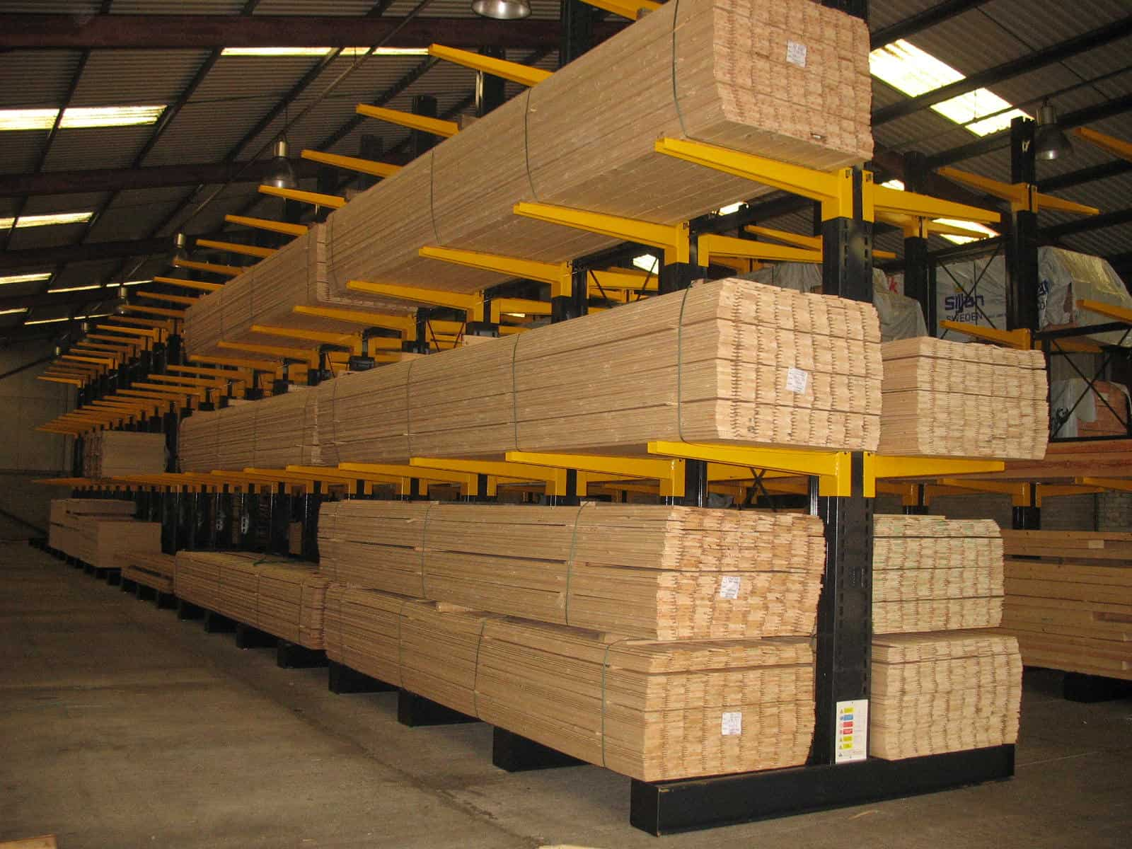 Softwood Timber stored on Stakapal Cantilever Racking reduces the risk to staff and customers posed by bulk stacking
