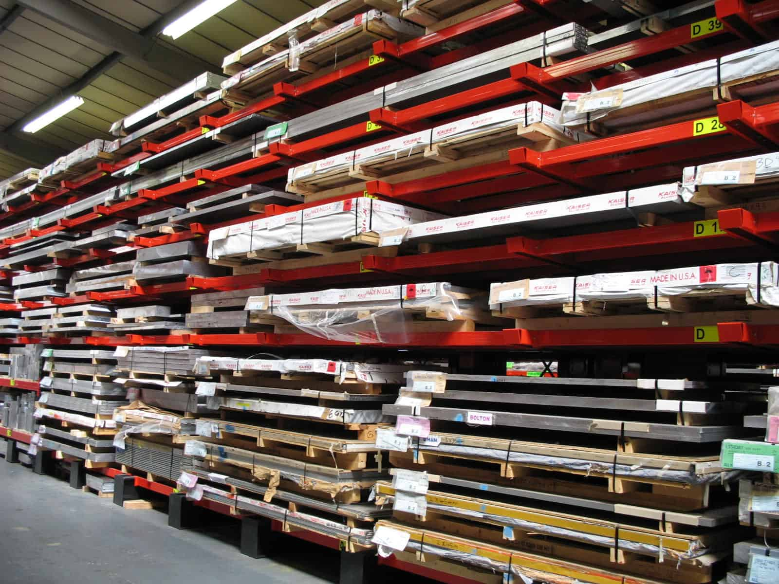 Metal Sheet Materials stored on Cantilever Racking with Rail Supports