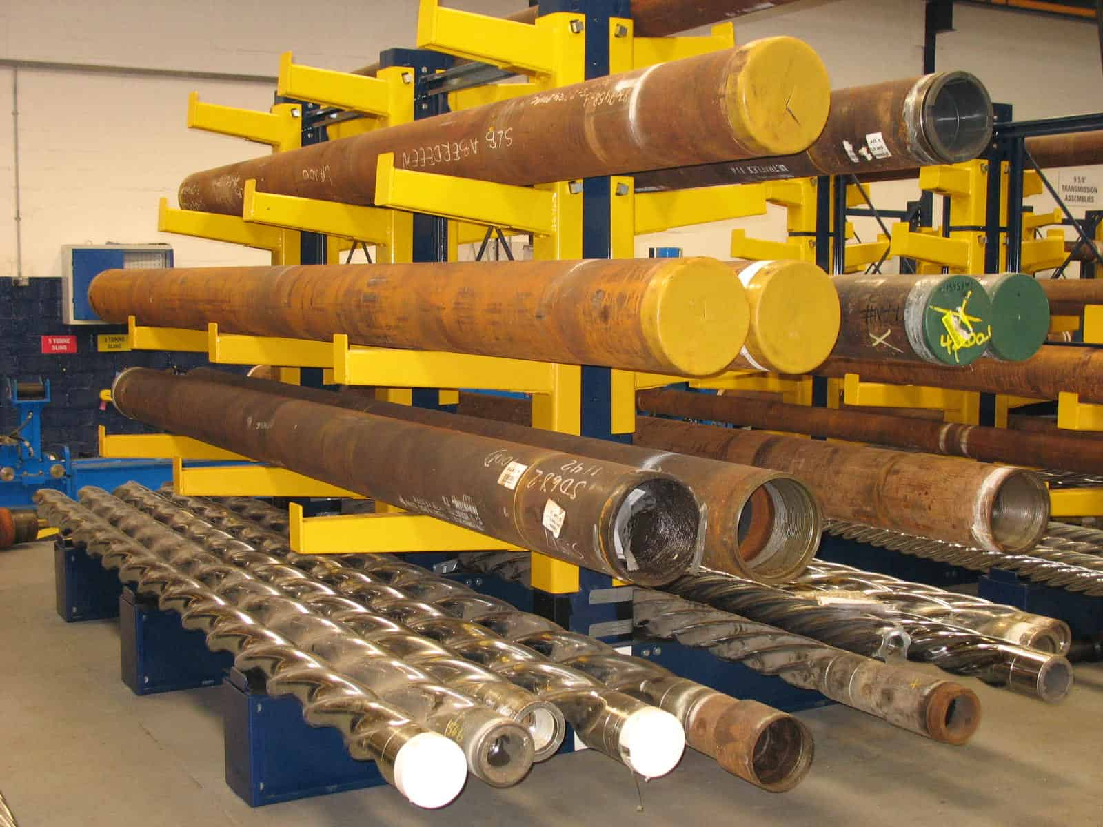 cantilever racking holding steel tubes