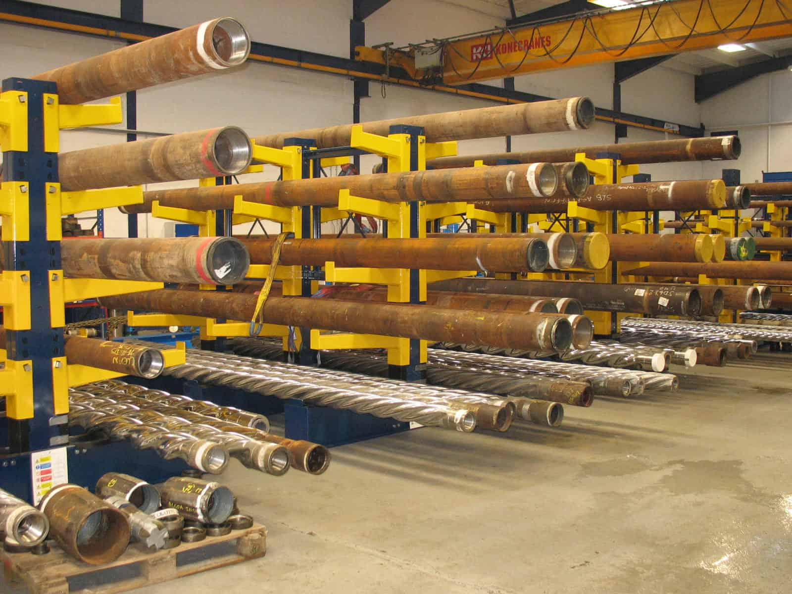 Heavy Duty Cantilever Racking for specialist Pipe and Drill products utilised by the Offshore sector
