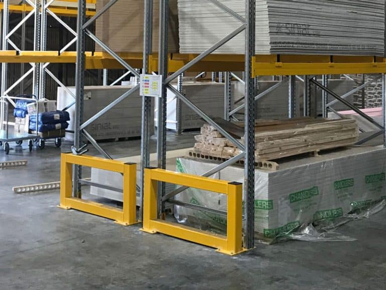 pallet racking with safety barriers
