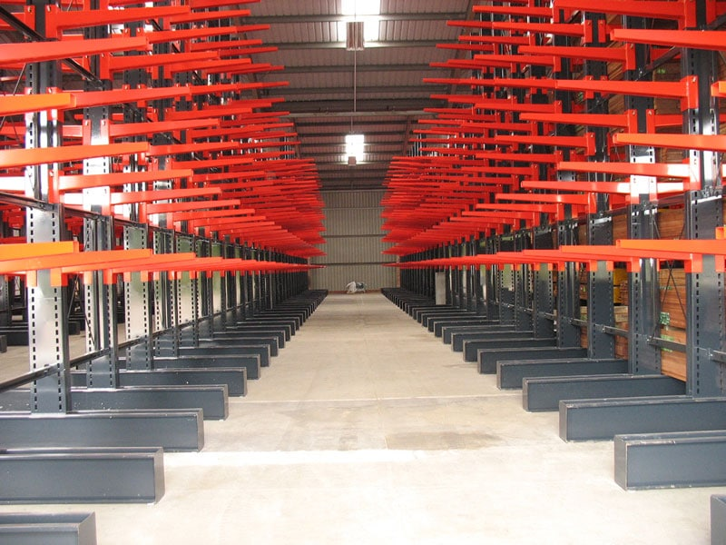 cantilever racking in warehouse