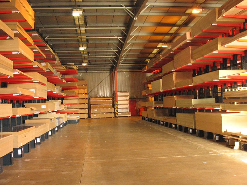 cantilever racking holding panel products