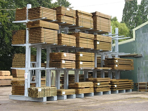 External Hot Dipped Galvanised Cantilever Racking for Timber Yard Storage