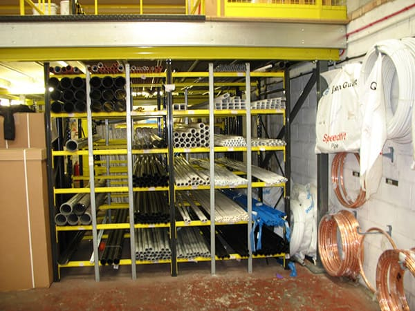 Pigeon Hole Racking for Horizontal Storage of Plumbing Products and Copper Pipe